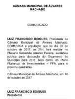 Convite para Audiência Pública 30/10/2017